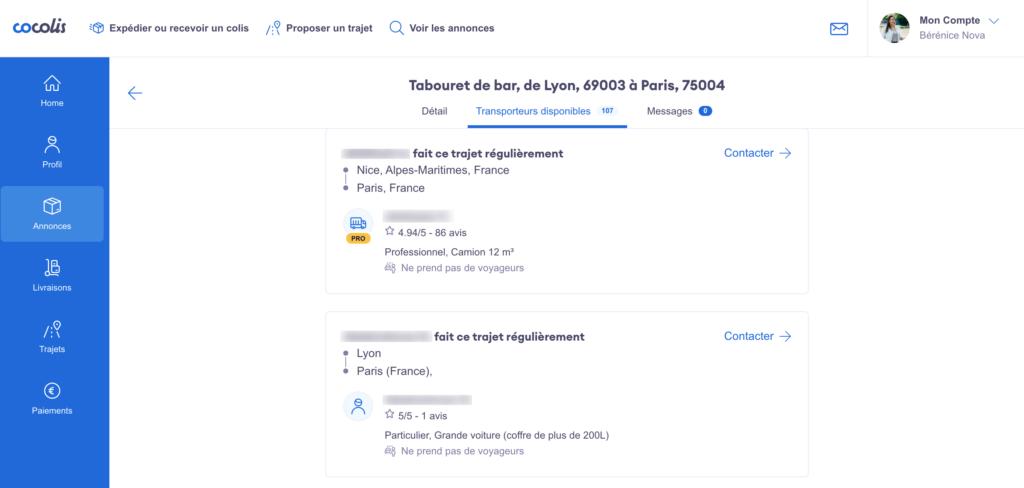 """Affichage des transporteurs optimisé  dans l'onglet """"Transporteurs Disponibles"""""""